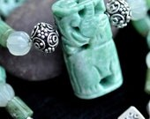 JADE ELEPHANT - Hand-carved Jade, Chrysophrase and Sterling Silver Necklace