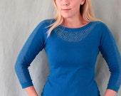 Blue shirt lace yoke and sleeves