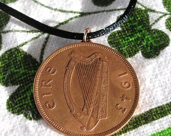1943 Authentic Irish Penny Birth Year Coin Necklace
