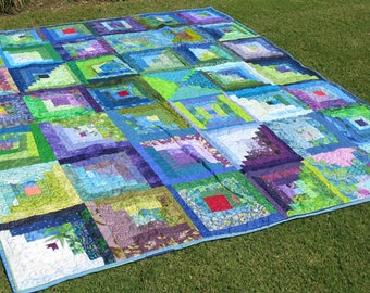 Log Cabin Full Queen Quilt, Sisterhood of the Traveling Quilt - Group Quilt - 72 x 84 inches, Green, blue, purple log cabin