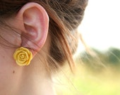 LAST FEW In Stock Large Mustard Yellow Rose Flower Post Earrings // Bridesmaid Gifts // Maid of Honor Gifts
