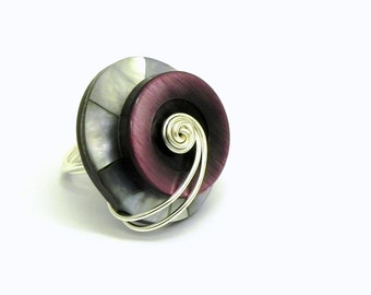 Wire Wrapped Ring - Purple and Gray Shell Button