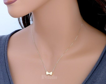 Two hearts necklace, small heart necklace, dainty minimalist charm pendant, 14k gold filled chain, everyday love, bridesmaid wedding jewelry