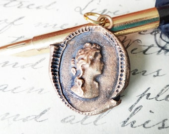 Gold Cameo Pendant - Wax Seal Necklace - Portrait Medallion