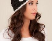 Knit Headband, headband with flower, black and white knit headband, crochet headband, flower headband, Volang Headband, wool headband