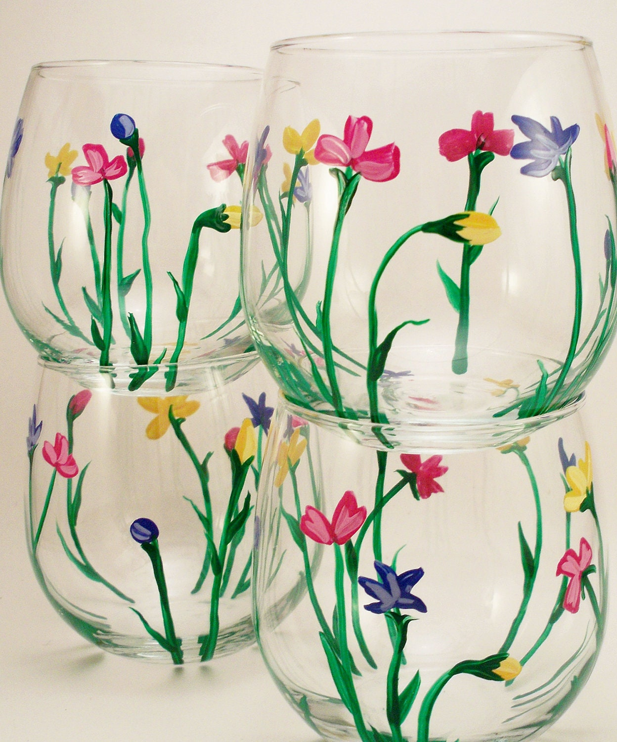 Wild flowers hand painted stemless wine glasses set of 4 for Painted stemless wine glasses