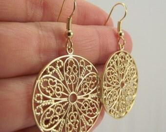 Gold Filigree Medallion Earrings, Gold Earrings