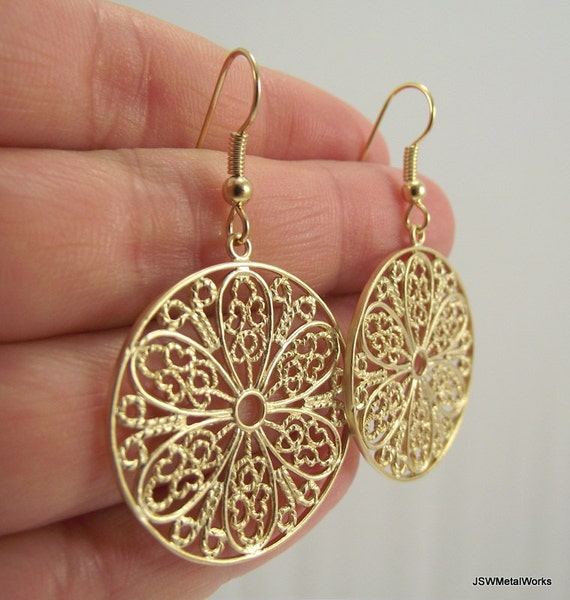 Gold Filigree Medallion Earrings Gold Earrings Round