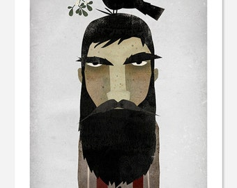 Lumberjack, Crow, and Mistletoe GRAPHIC ART Giclee print 9x12 inches SIGNED