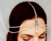 Art Deco Crystal Rhinestone Headdress - Aurora Borealis Bridal Headpiece