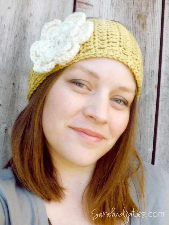 Wide Crochet Headband with Flower - You Choose Colors