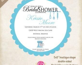 Boutique Shape Recipe Bridal Shower Invitations - Set of 25