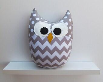 Chevron Pillow Large Plush Owl Zig Zag Minky Gray White Nursery Decor