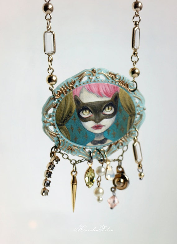 pre Christmas sale - Cat Burglar, little thief. necklace cameo pendant with original painting by KarolinFelix
