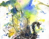 Mythical Dragon Art Print From Original Watercolor Painting Art Print Dragon Wall Decor Poster Print Dragon Painting Art Print