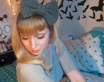 Grey Sparkle Crocheted Big Bow Ear Warmer Headband
