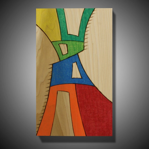 "Original Abstract Modern Art on Poplar - Pyrography - Wood burned art - Prismacolor 7.25"" x 13"" Contemporary art  ""The Abstract Mirror"""