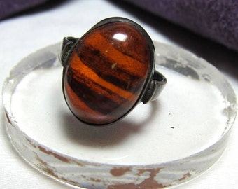 Hand Made Amber and Sterling Silver Ring