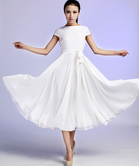 White Maxi Chiffon Dress - Custom Made Fully Lined Dress Simple Design  Soft Summer Fashion (627)