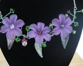 Purple Lucite Flower and Swarovski Crystal Necklace with Silver Chain