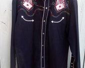 Embroidered Western Shirt Rockabilly Cowboy Vintage