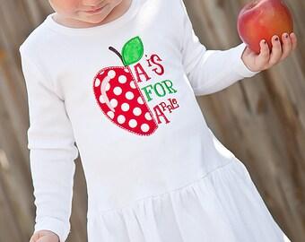 Girls back to school dress, girls apple dress, girls Fall dress, girls apple picking dress, toddler apple dress
