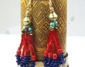 African Red and Navy Seed Beads and Brass Bicone Dangle Earrings