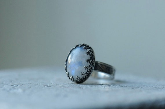 Reserved. Moonstone ring sterling silver. Blue flash rainbow moonstone. Textured band. Size 5.5