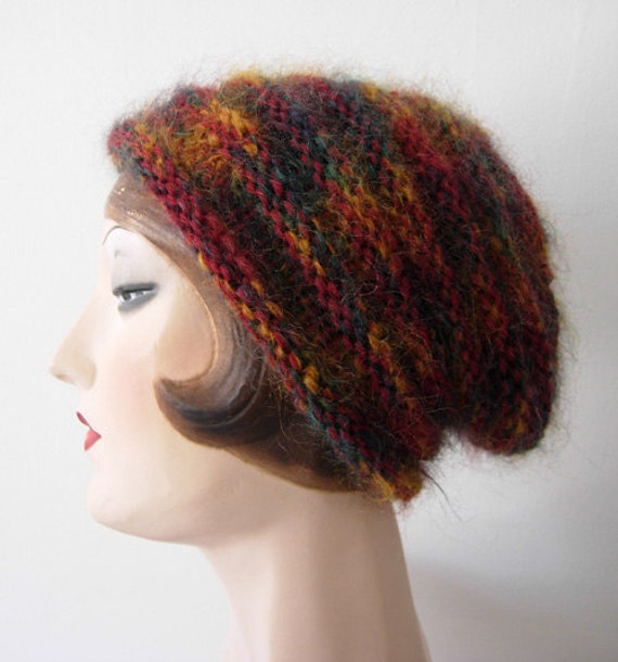 Hand knit Mohair slouch beanie hat, FREE SHIPPING in the US.