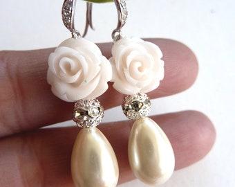 Bridal Earrings Cream Ivory Teardrop Pearl Crystal Filigree Ball with White Rose Cubic Zirconia Earrings