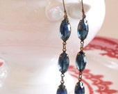 Montana Blue Earrings Retro Navette Rhinestone Drops Bridal Bridesmaid