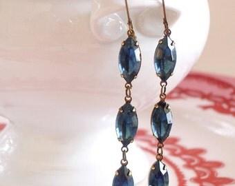Montana Blue Earrings Retro Navette Rhinestone Drops Bridal Bridesmaid