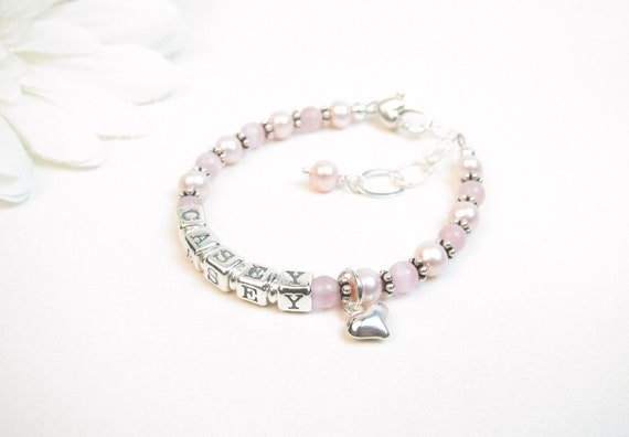 Baby Name Bracelet - Pink Freshwater Pearls and Cats Eye