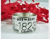 Personalized Duck Band Ring - Hand Stamped Sterling Silver Bird Band Ring -Large Sizes 10.25 - 15