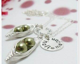 Peas in a Pod - Friendship Necklaces with Personalized Name Tag