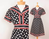1960s Sailor Dress by Shannon Rodgers / Navy Blue & Cream Polka Dots w/ Striped Ribbon Trim - Womens S - Nautical 60s Mod Dress Red White