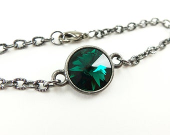 May Birthstone Bracelet Emerald Crystal Bracelet Dark Silver Gunmetal Emerald Chain Bracelet 7 inches