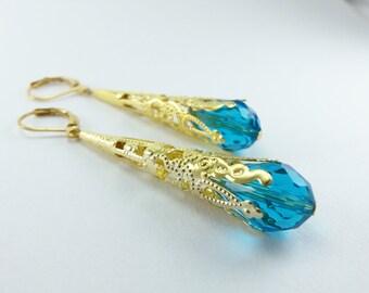 Aqua Earrings Leverback Gold Dangle Earrings Victorian Jewelry Filigree Earrings Long Dangle