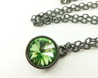 August Birthstone Jewelry Peridot Birthstone Necklace Peridot Jewelry Crystal Necklace Dark Silver Gunmetal Rivoli