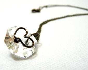 Crystal Heart Pendant w/ bronze and brass- reclaimed upcycled chandelier crystal rustic pendant