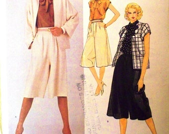 vogue american designer pattern 2905 ~ designer edith head jacket, culottes and blouse ~ (1970s) ~ PARTIALLY CUT