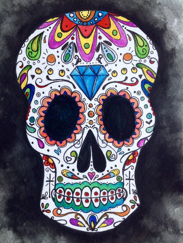 ORIGINAL Sugar Skull Watercolor Painting