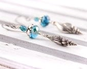 Seashell Earrings Czech Glass, Teal Silver