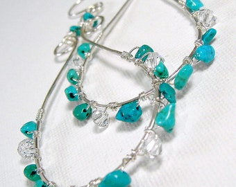 Large Silver Turquoise Hoops Wire Wrapped Hoops Crystal Sterling Silver Earwires