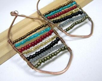 Multicolor Copper Hoop Earrings Seed Bead Earrings Beaded Wire Wrapped Large Earrings
