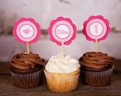 Babys First Birthday Party Decorations - Birdie Theme Cupcake Toppers - in Hot and Light Pink (12 cupcake toppers)