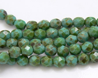 Green Turquoise Picasso, Czech Beads Fire Polished 6mm 25 Faceted Round GLass