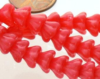 Silky Raspberry Sorbet Bell Flower Czech Glass Beads 8mm 20