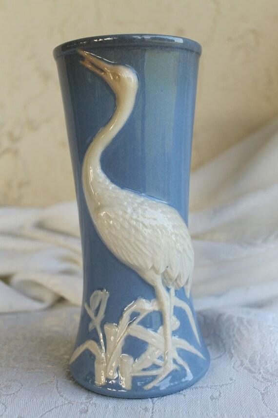 Blue Vase Antique White Heron Bird 1920s By Cindyraecollection