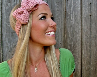 Pale Pink Crochet Bow Headband w/ Natural Vegan Coconut Shell Buttons Adjustable Hair Band Girl Woman Teen Head Wrap Cute Knit Accessories